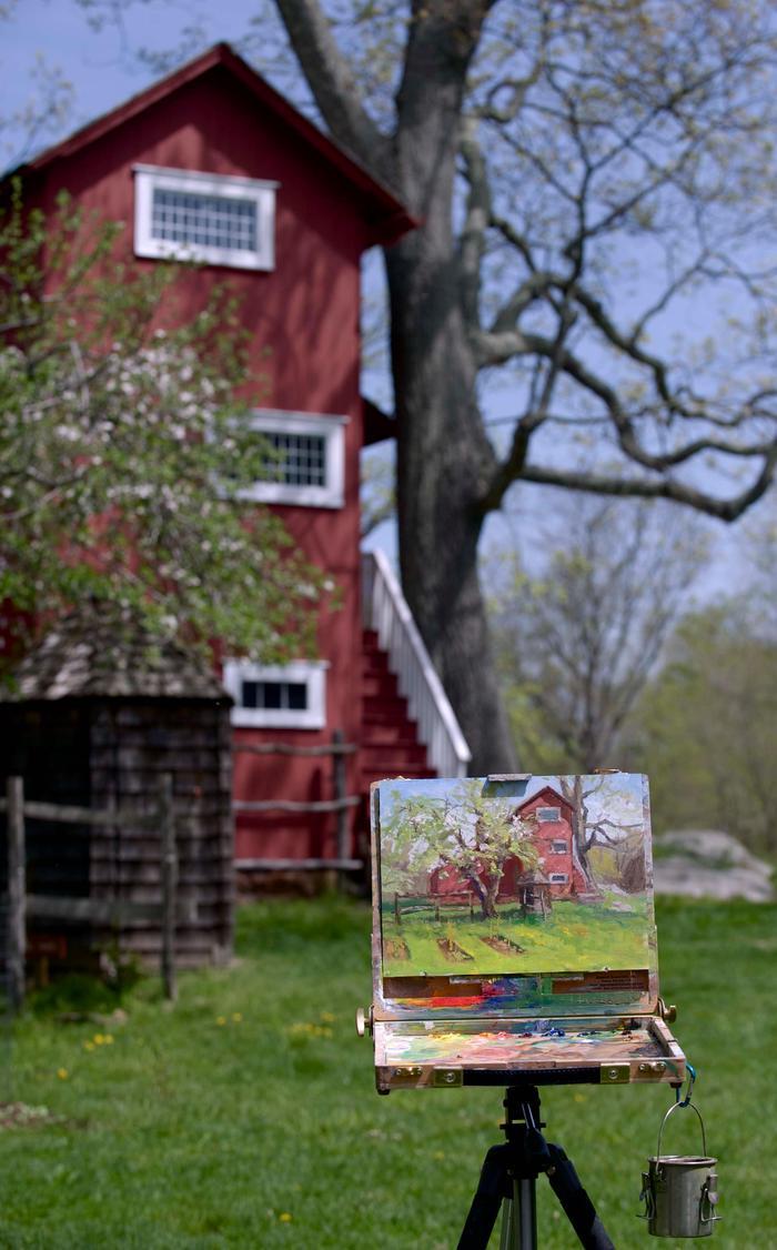 Plein Air Painting of Weir StudioAn oil painting of Weir Studio by artist Mary Burkhardt at Weir Farm National Historical Park.