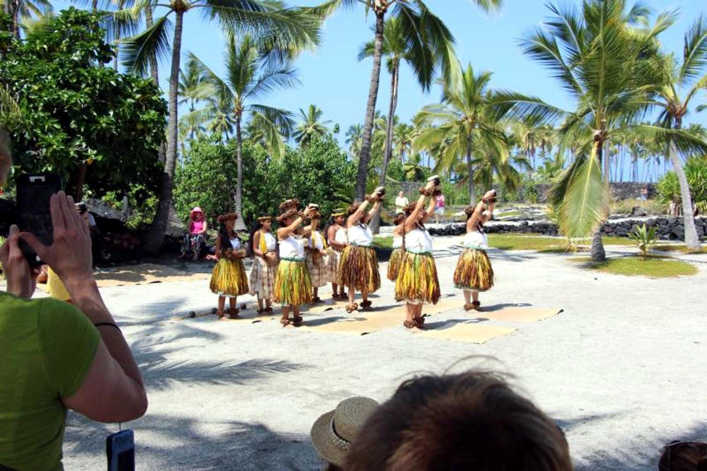 Hula Demonstration in the Royal GroundsHula dancers perform at the annual Cultural Festival.