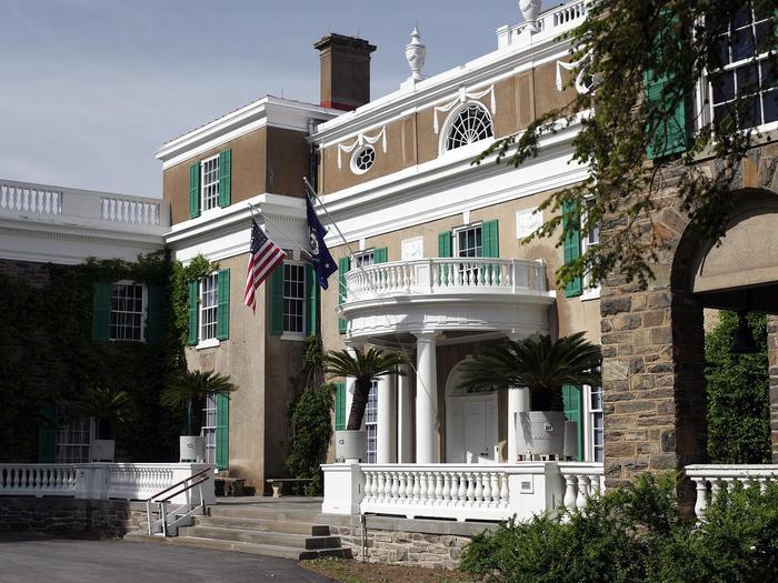 East Terrace of SpringwoodThe west terrace, or main entrance, to Springwood.