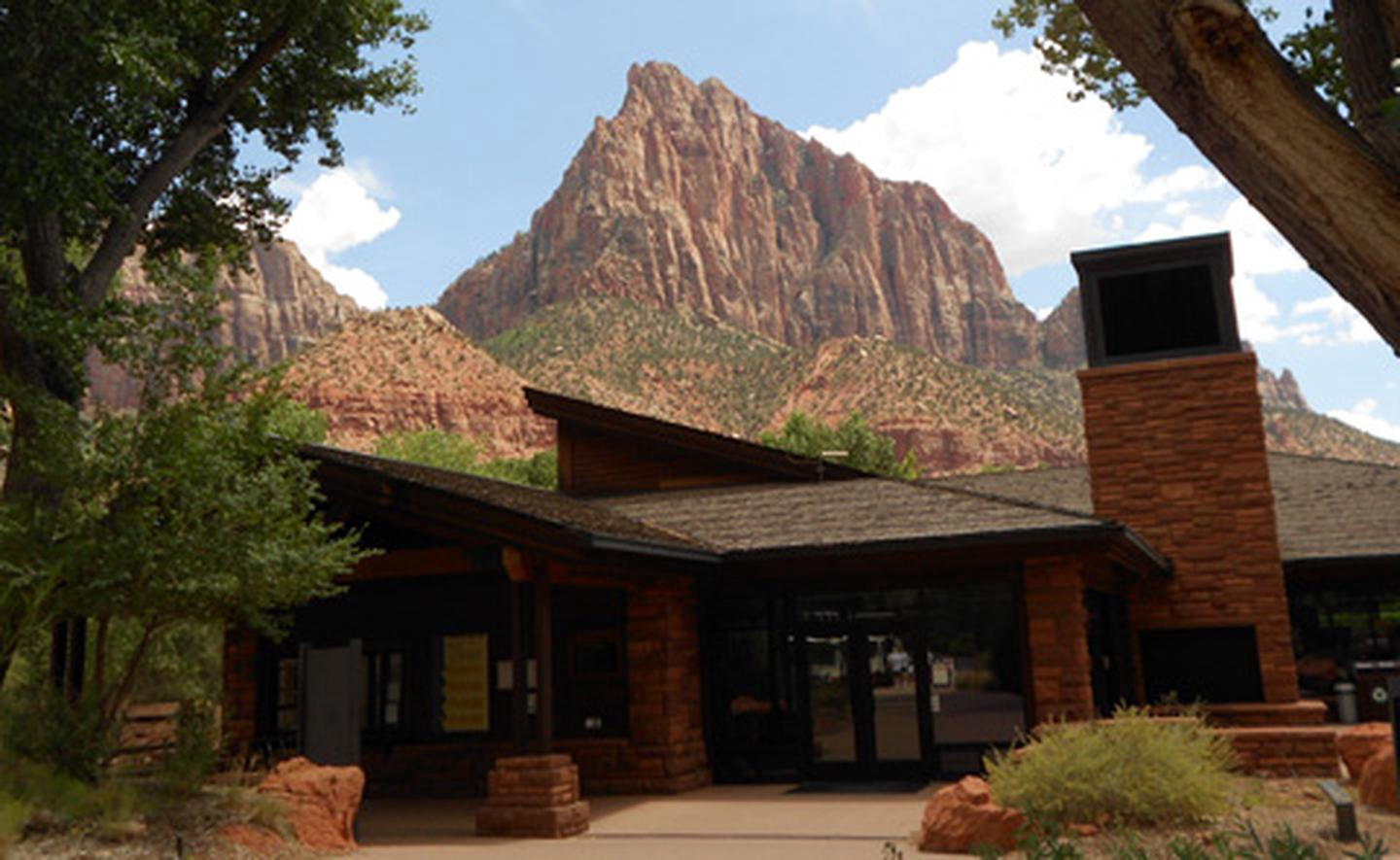 Zion Canyon Visitor CenterThe Zion Canyon Visitor Center sits near the sandstone peak known as the Watchman