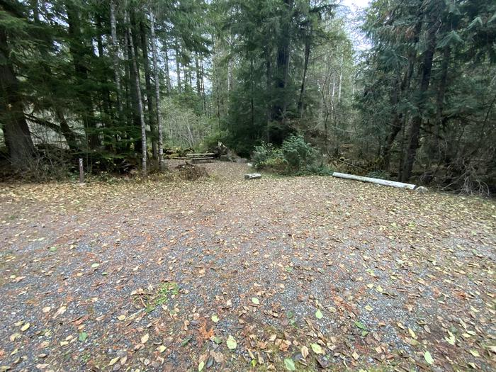 Gravel parking area with a campsite containing a picnic table, bear box, and campfire ring seen in the distance.View of campsite.