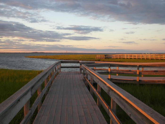 Salt marsh trail at Watch HillA boardwalk trail welcomes visitors to a salt marsh at Watch Hill.