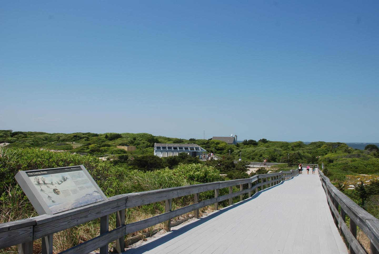 Boardwalk to the ocean beach.Bathrooms, a lifeguarded beach, concessions and a visitor center are available seasonally at Sailors Haven