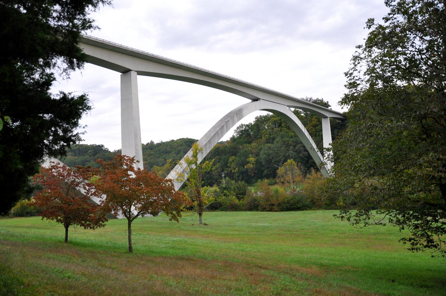 Double Arch Bridge over Birdsong Hollow (milepost 438) on the Natchez Trace ParkwayThe elegant Double Arch Bridge won the Presidential Award for Design Excellence in 1995. It spans Birdsong Hollow and Tennessee Highway 96. To see it from below, take the TN 96 exit and stop at the pulloff before you get to the highway.
