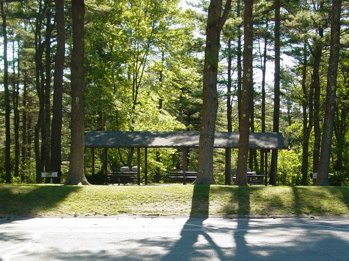 View of the Barre Falls Dam Picnic Shelter from across the parking lot.