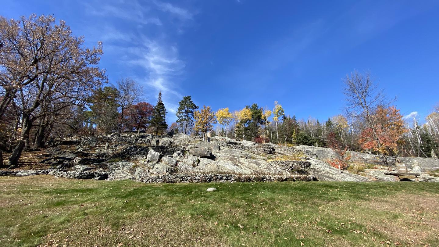 View of granite outcrop from lower lawn.