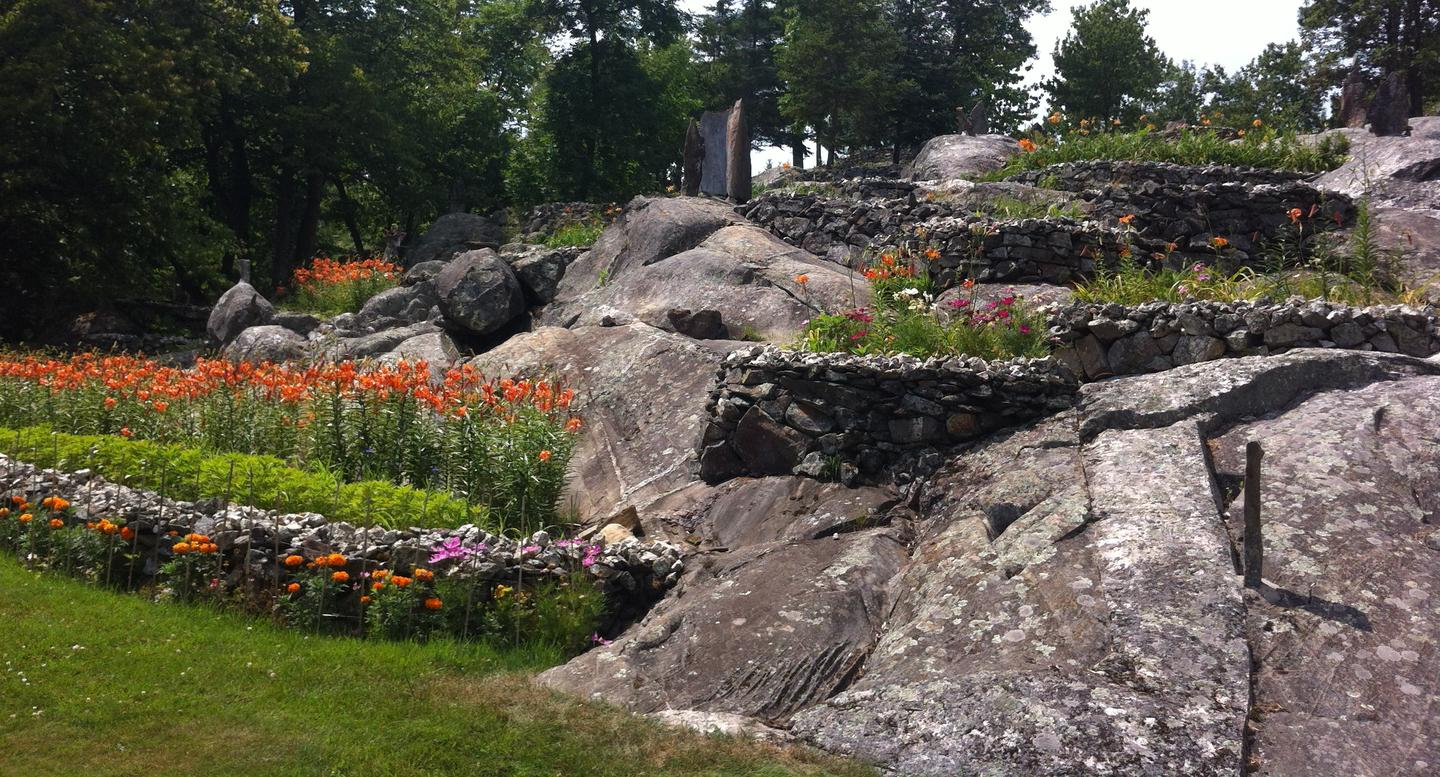 Blooming flower beds at Ellsworth Rock Gardens
