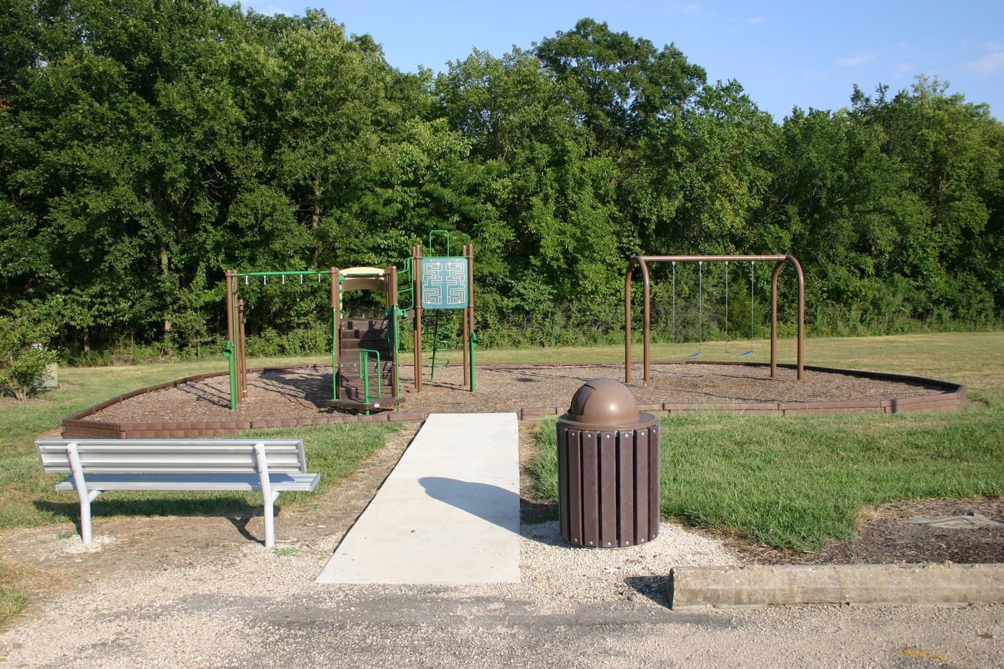 Bloomington West Park Campground playgroundA modern playground is located within the Bloomington West campground