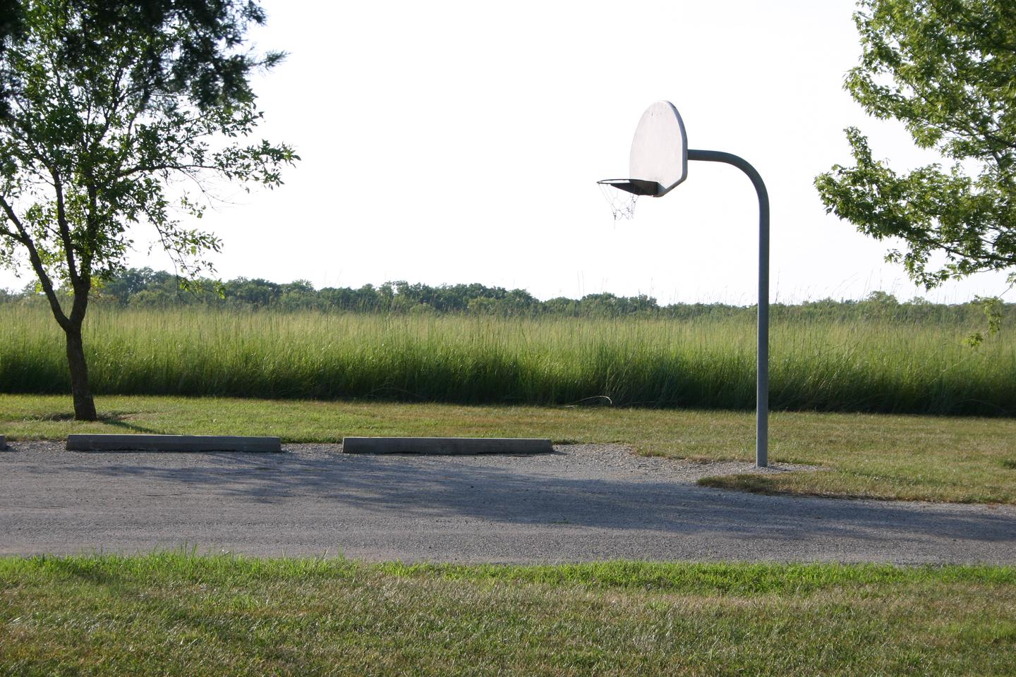 Bloomington West Park Campground basketball goalA basketball goal is located near the parking area for the group camp