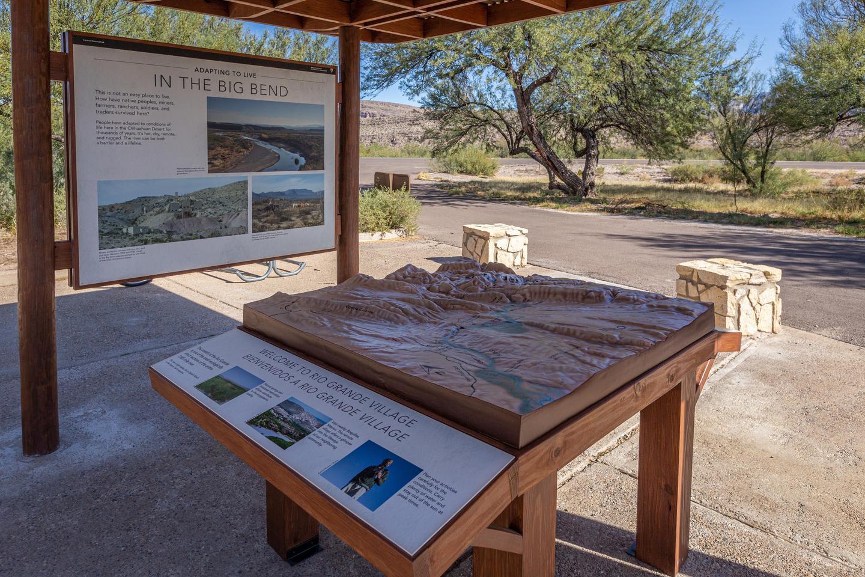 Outdoor exhibits at Rio Grande Village Visitor CenterOutdoor relief map at Rio Grande Village Visitor Center