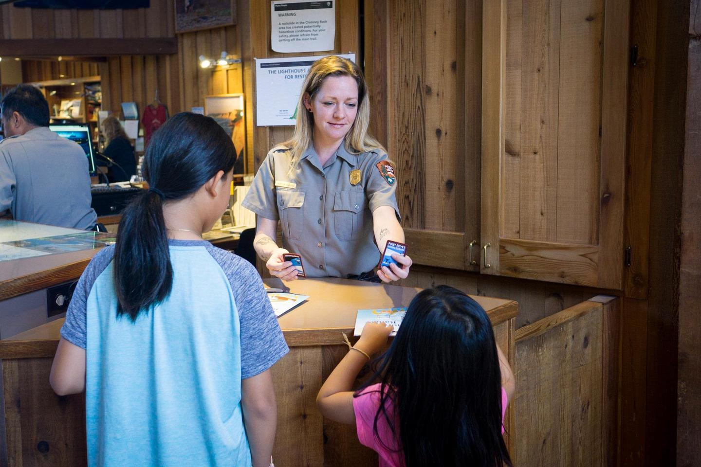 Bear Valley Visitor Center Information DeskRangers and volunteers are available at the information desk with maps, information and junior ranger badges!
