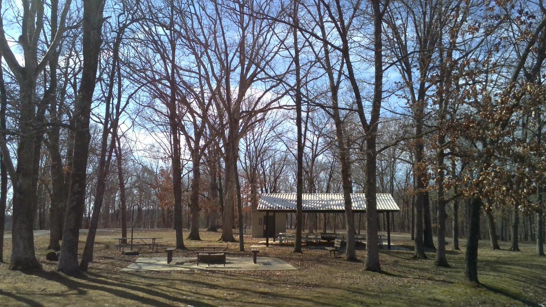 Picnic Shelter, Firepit, and Restroom