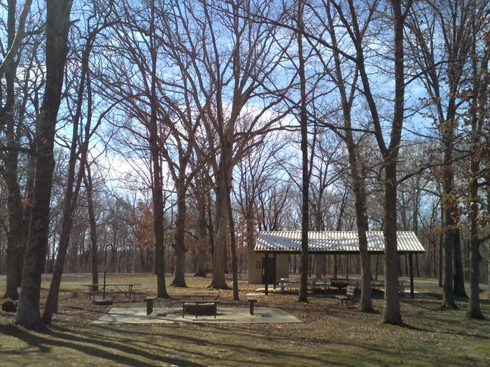 Picnic Shelter, Firepit, and Restroom