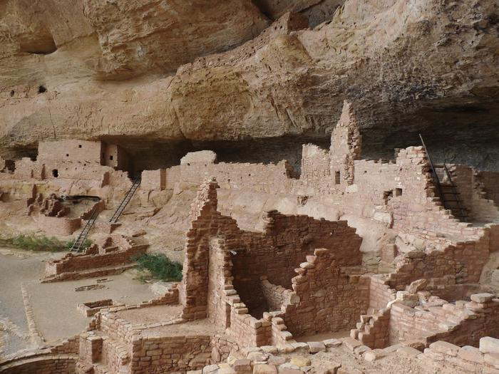 Ancient, multi-storied, stone-masonry village in a cliff alcove.The second largest Cliff Dwelling in Mesa Verde National Park with 150 rooms and 21 kivas.
