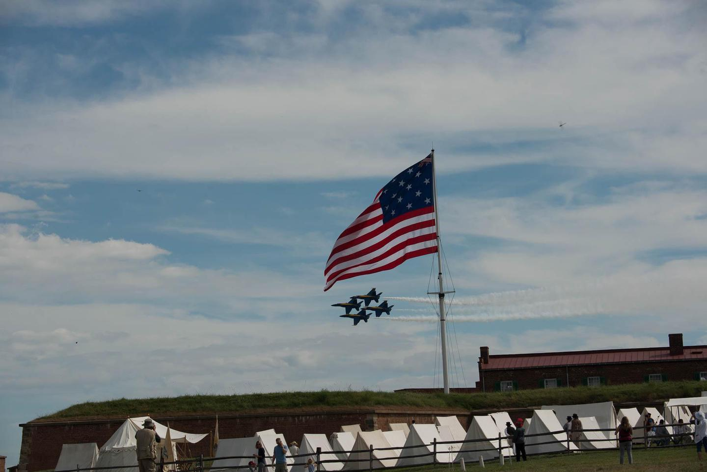 Fort McHenry National Monument and Historic ShrineBlue Angels fly over Fort McHenry