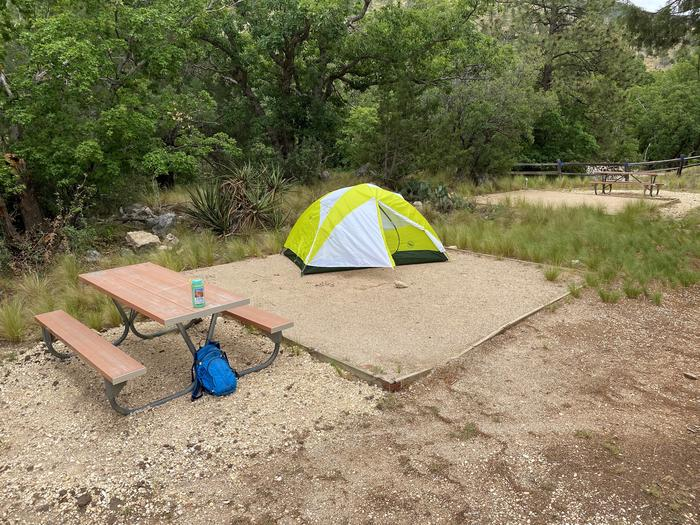 Campsite number 1 with a 2-person tent displayed on the tent pad.  A picnic table is just to the left of the tent pad.Tent campsite number 1 a two person tent is displayed on the tent pad.