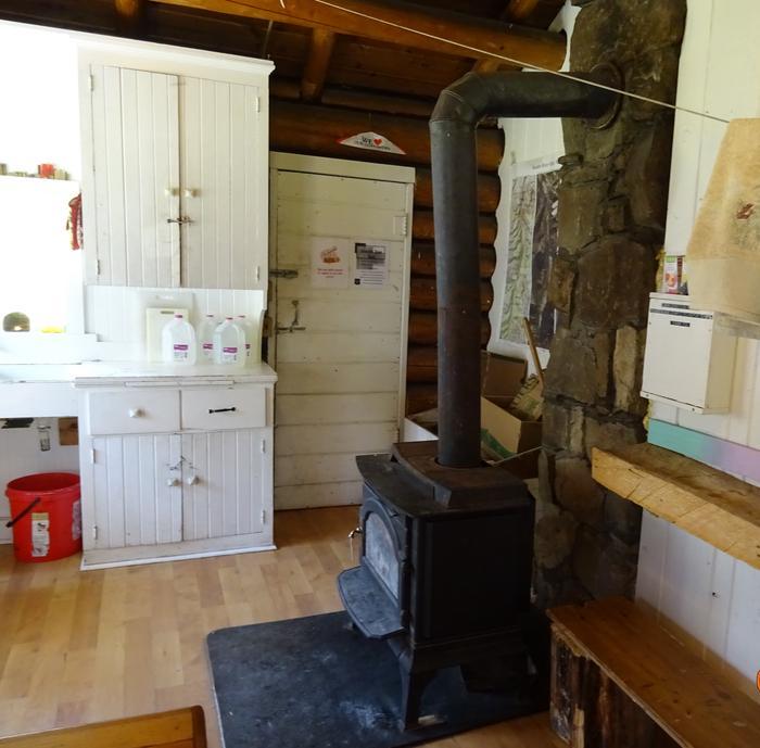 Warm wood stoveInterior of Fourmile with woodstove