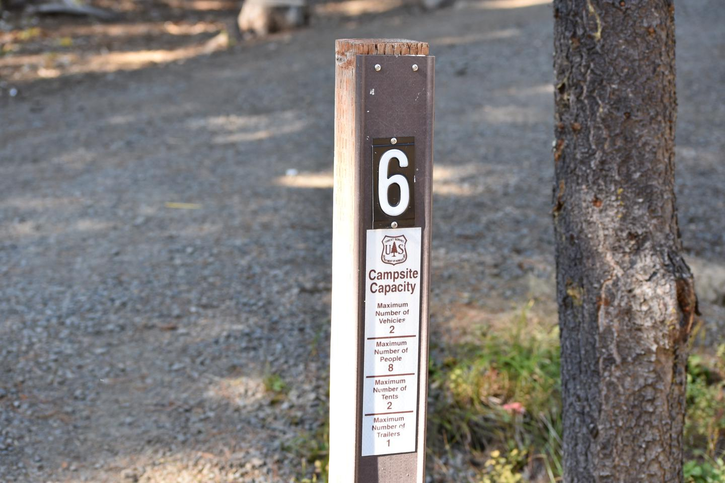 Campground entrance sign site #6Jubilee Lake campground #6
