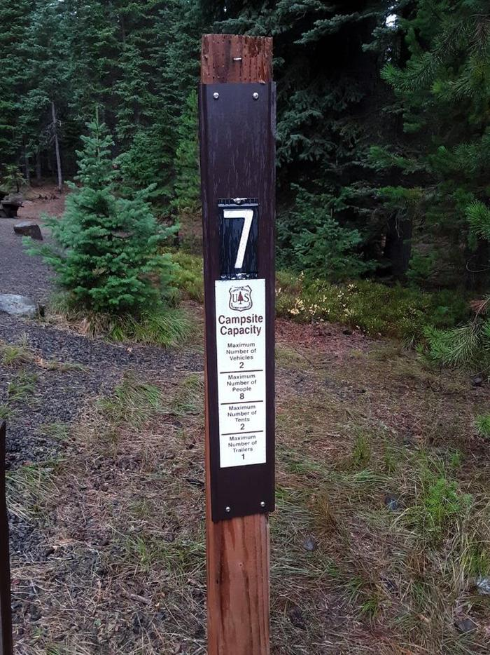 Site #7 entrance signJubilee Lake Campground site #7