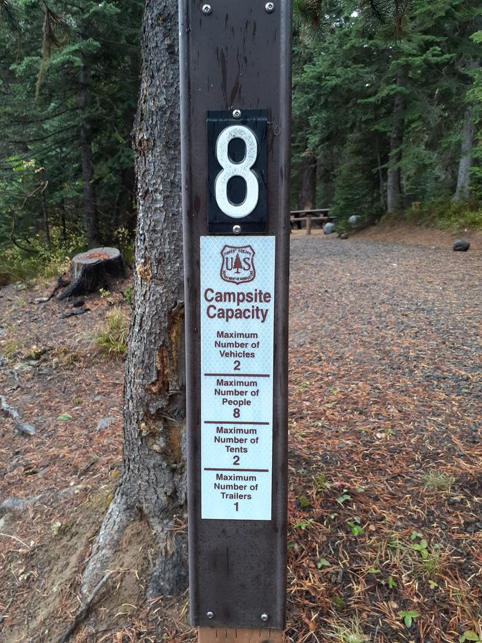 site #8 entrance signJubilee Lake Campground site #8