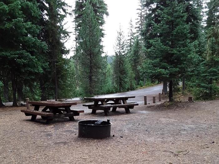 Camp site with two picnic tables, a fire ring and treesJubilee Lake Campground #9
