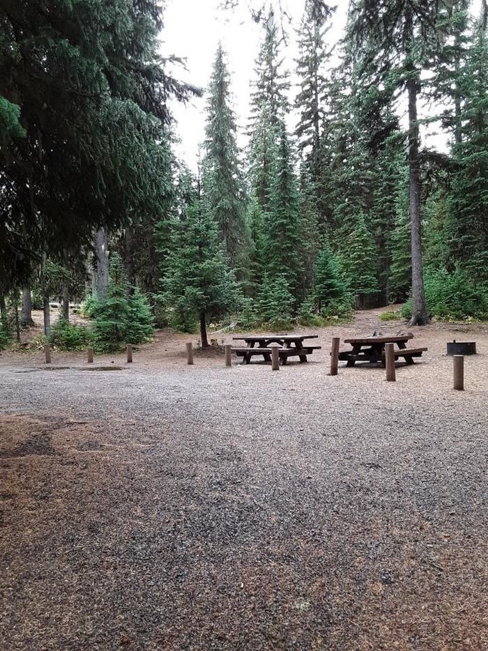 site #9 parking area and campsiteJubilee Lake Campground site #9