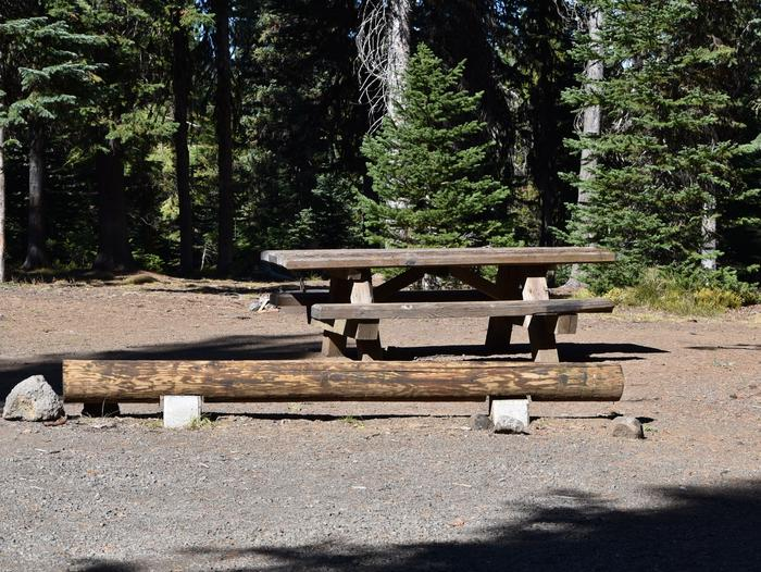 campsite with picnic table and fire pitJubilee Lake Campground site #20