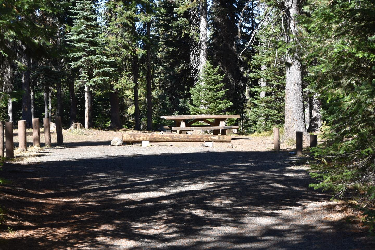 camp site parking area, gravel with treesJubilee Lake Campground site #20