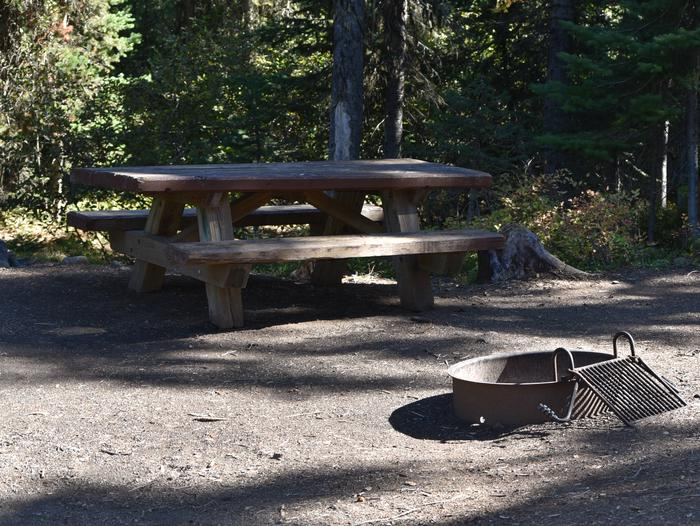 camp site with picnic table and fire ringJubilee Lake Campground site #21