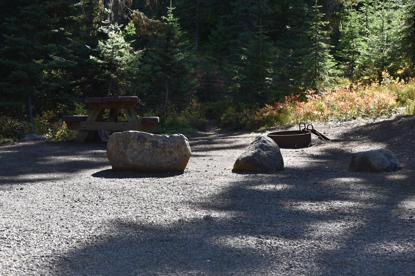 campground with big rocks, and a fire pitJubilee Lake Campground site #21