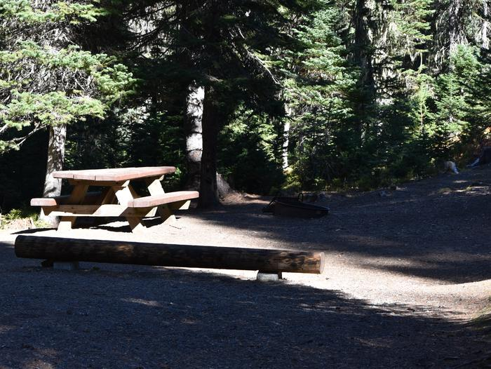 camp site with picnic table and shadeJubilee Lake Campground site #24