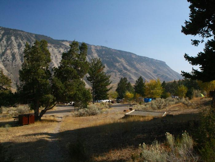 Mammoth Hot Springs Campground 2Mammoth Hot Springs Campground facing east