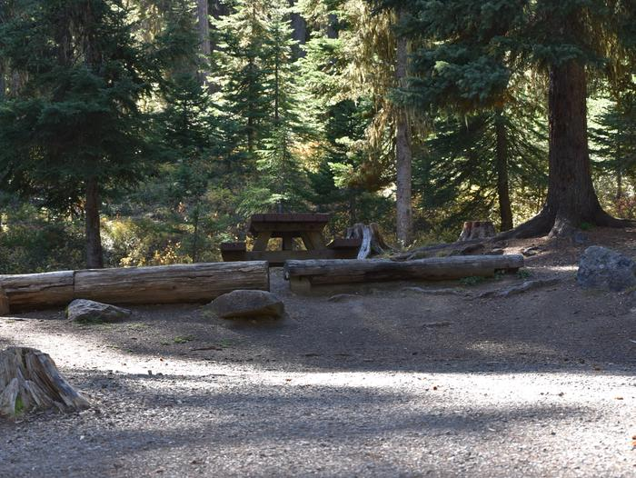 campsite parking area, picnic table and treesJubilee Lake Campground site #25