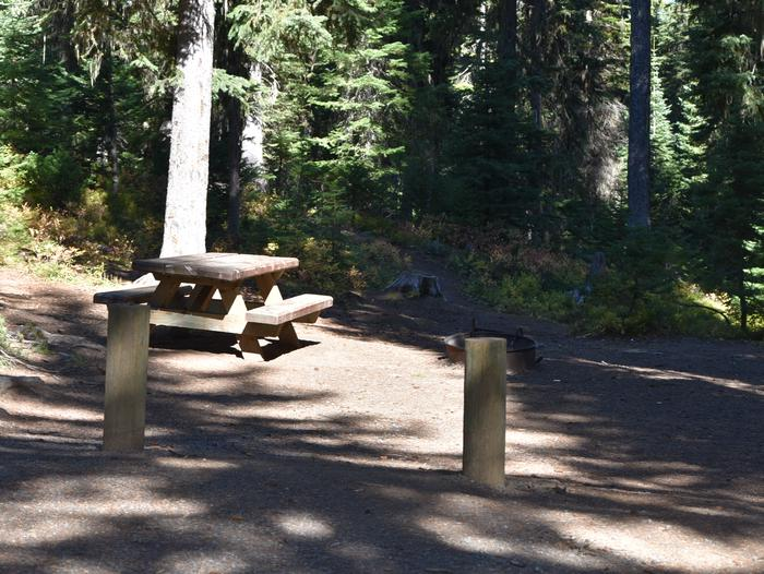 campsite picnic table with fire ring and shadeJubilee Lake Campground site #26