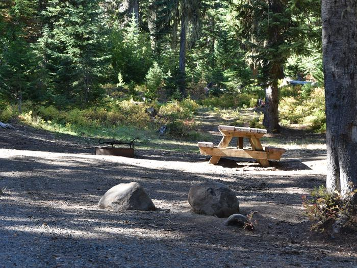camp site with picnic table, fire ring and treesJubilee Lake Campground site #27