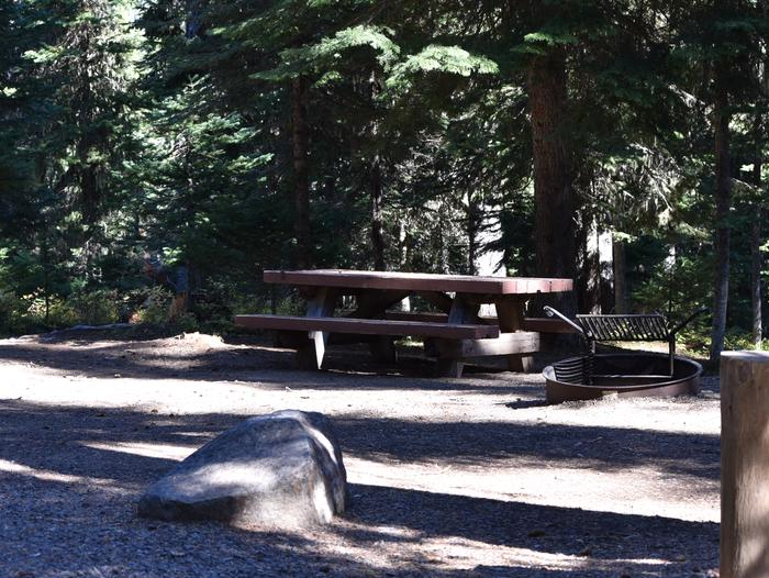 camp site with picnic table and fire pitJubilee Lake Campground site #28