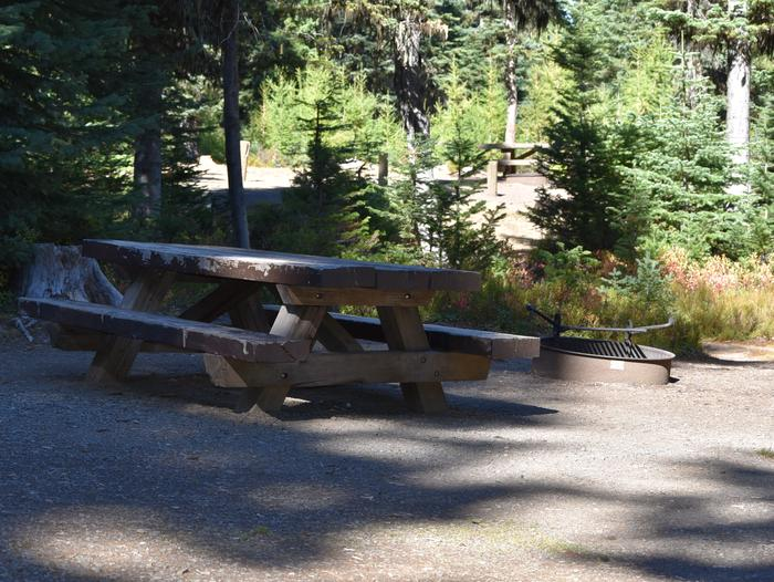camp site with picnic table and fire ringJubilee Lake Campground site #29