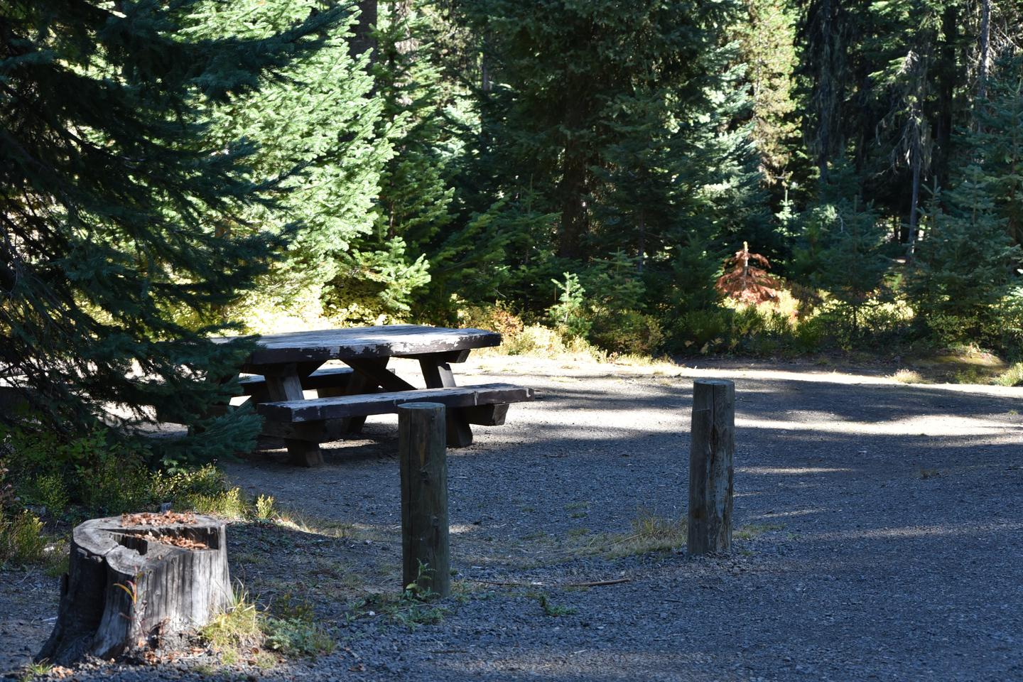 campsite parking area and picnic tableJubilee Lake Campground site #29