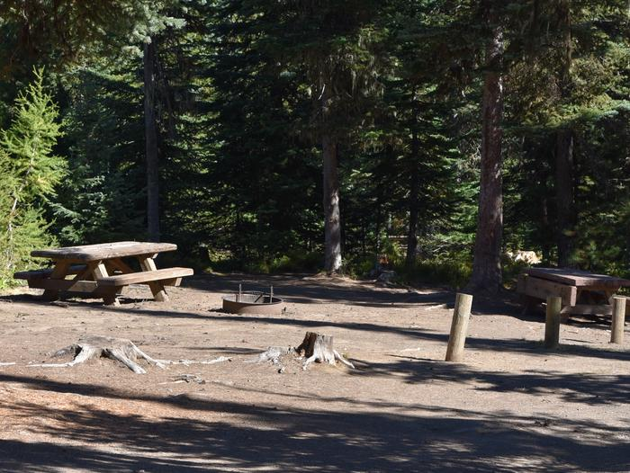 camp site with picnic table and fire ringJubilee Lake Campground site #31