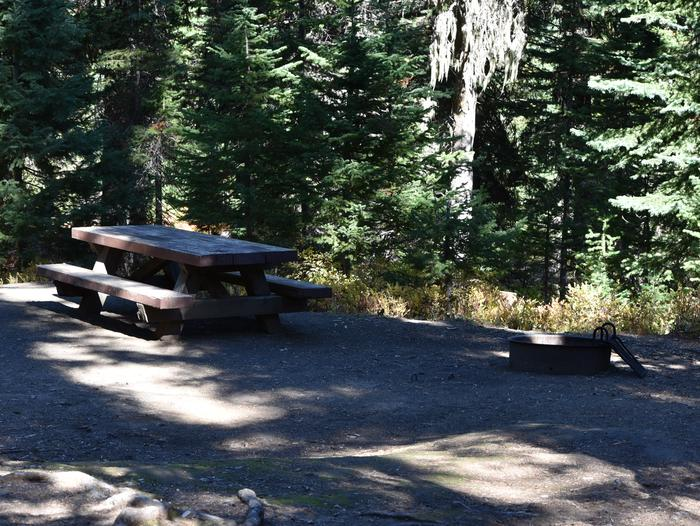 camp site picnic table and fire ringJubilee Lake Campground site #34