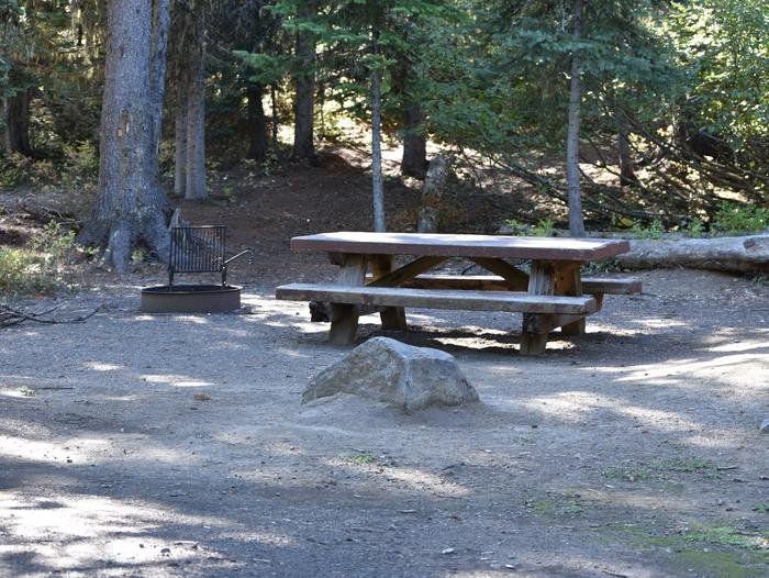 camp site with picnic table and fire ringJubilee Lake Campground site #37