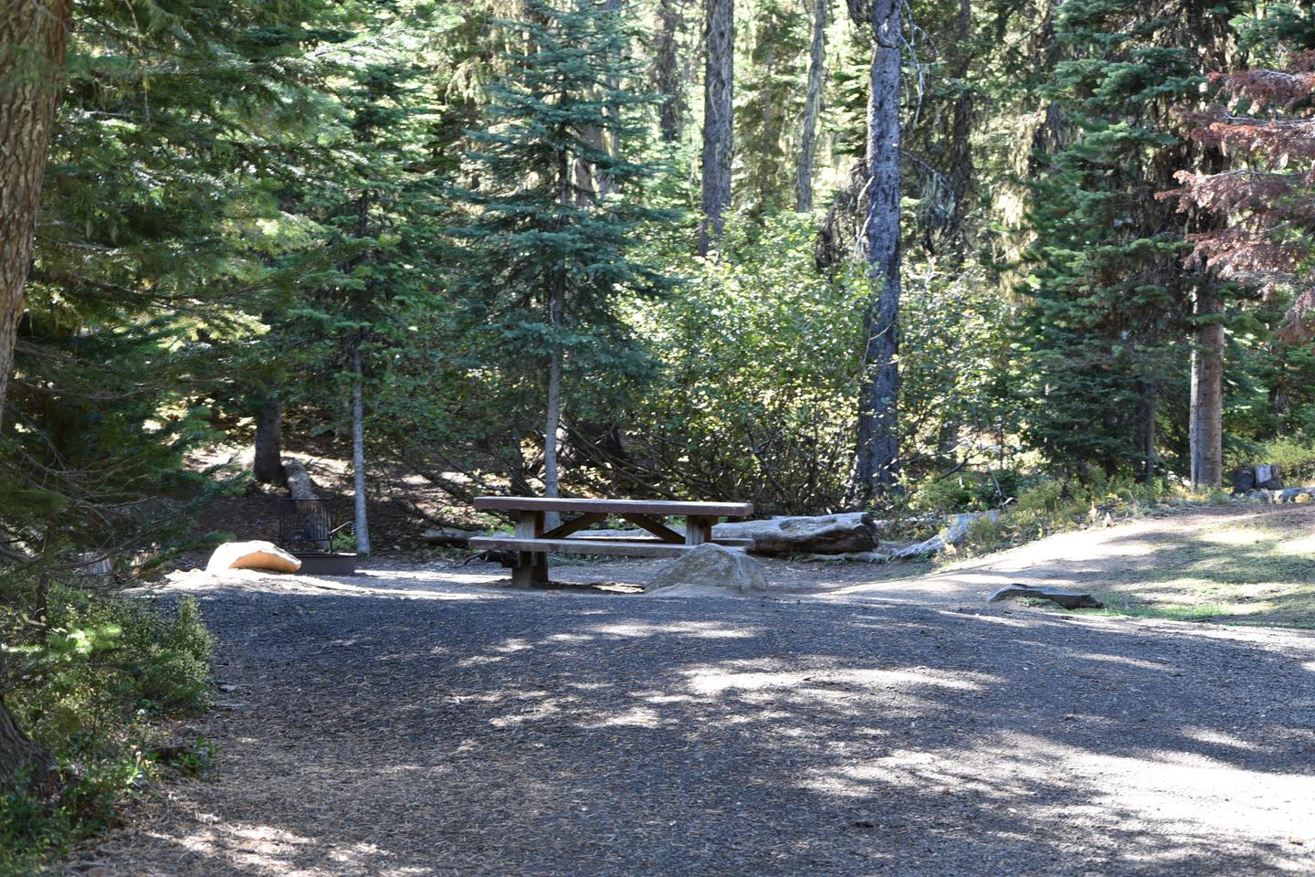 camp site parking area, gravel with view of camp site.Jubilee Lake Campground site #37