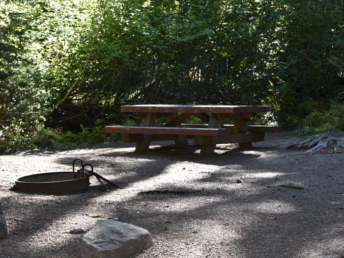 camp site picnic table and fire ringJubilee Lake Campground site #41