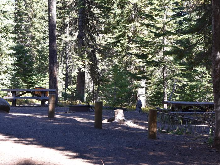 camp site picnic table and parking areaJubilee Lake Campground site #42