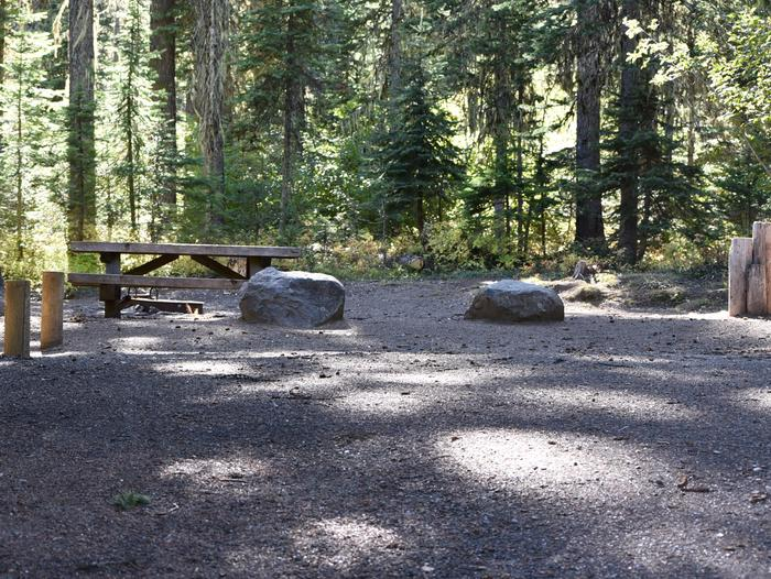 camp site with picnic table and fire ringJubilee Lake Campground site #43