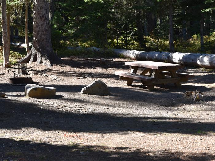 camp site picnic table and fire ringJubilee Lake Campground site #47