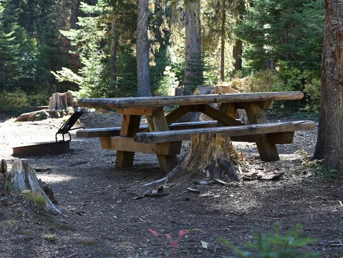 camp site picnic table and fire ringJubilee Lake Campground site #48