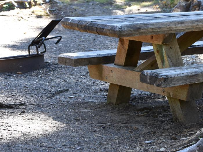 camp site picnic table and fire ringJubilee Lake Campground site #49