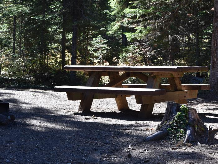 campsite picnic table and fire ringJubilee Lake Campground site #52