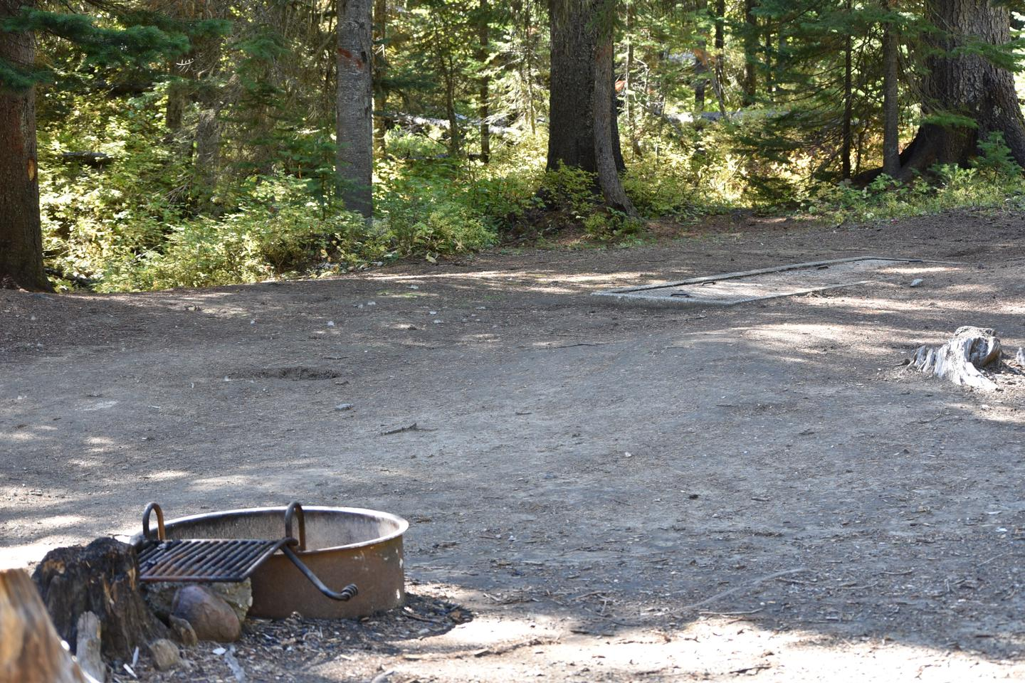 camp site fire ringJubilee Lake Campground site #53